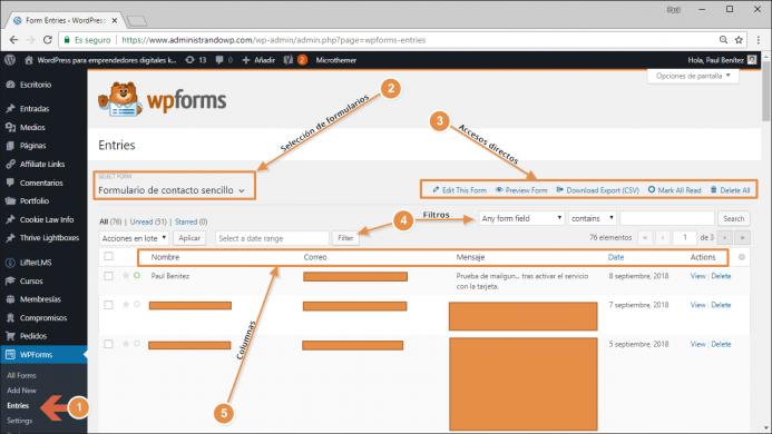 Tabla con todos los datos recopilados por todos los formularios de WPForms