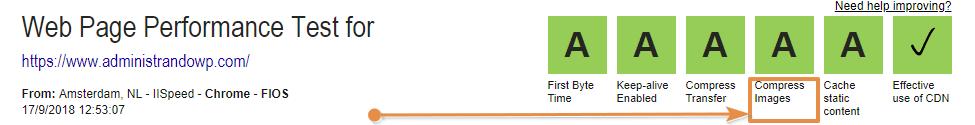 "Indicador ""Compress Images"" de webpagetest.org con un valor A"