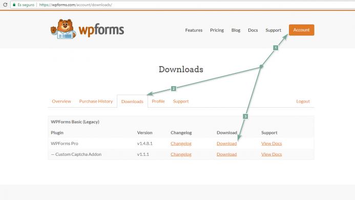 Como instalar WPForms en su versión comercial. Descargarte el archivo desde el área de cliente