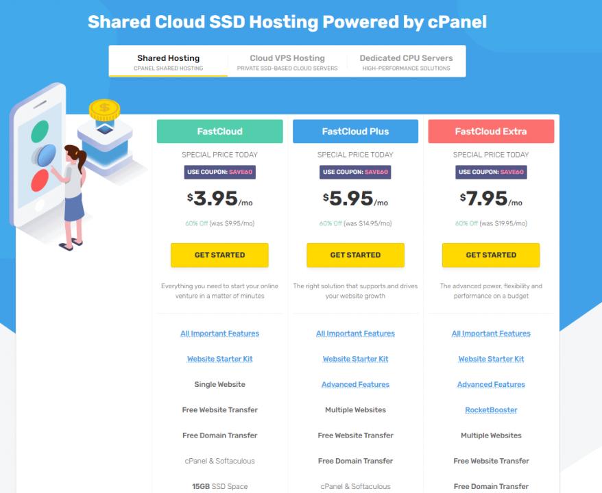 FastComet Hosting WordPress - Planes de precios