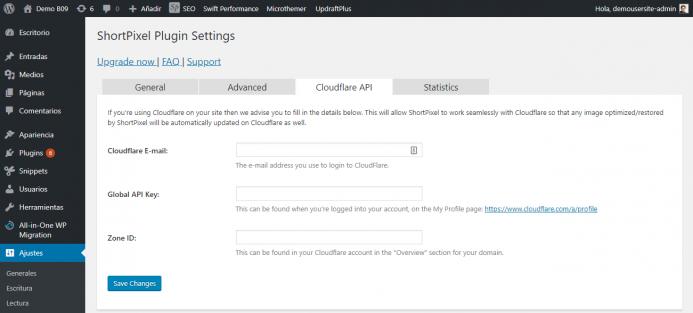 Opciones de configuración de Cloudflare API de ShortPixel