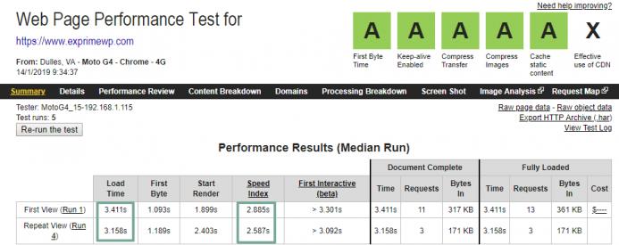 Tiempo de carga obtenido con webpagetest.org bajo una conexión 4G localizada en Dulles