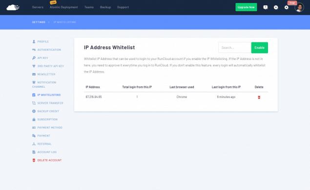 RunCloud - Lista blanca de IPs