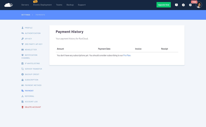 RunCloud - Historial de pagos