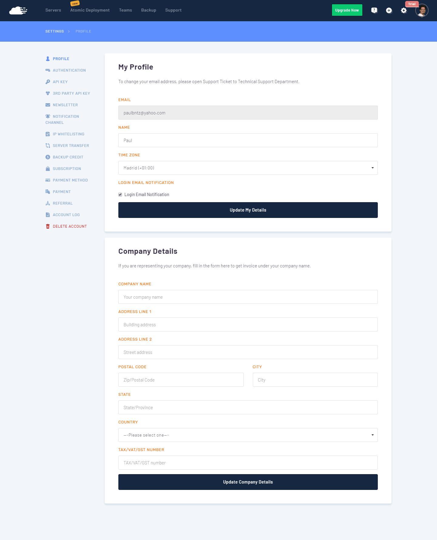 RunCloud - Configuracion perfil