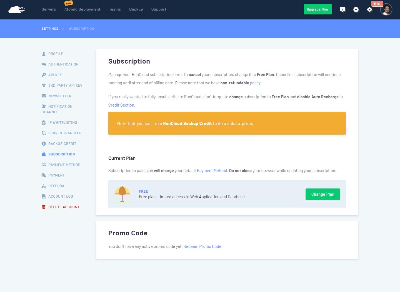 RunCloud - Suscripciones