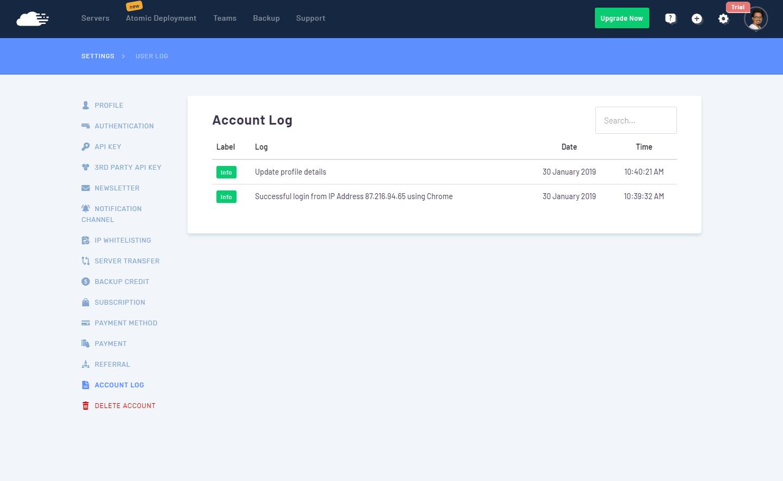RunCloud - Configuración y logs de usuario