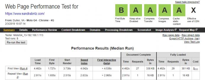 Resultados obtenidos en Webpagetest en el hosting de Webempresa empleando una conexión movil 4G