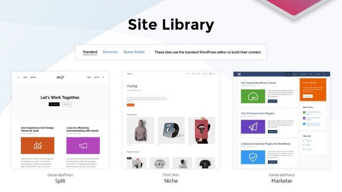 Site libray o biblioteca de sitios de GeneratePress
